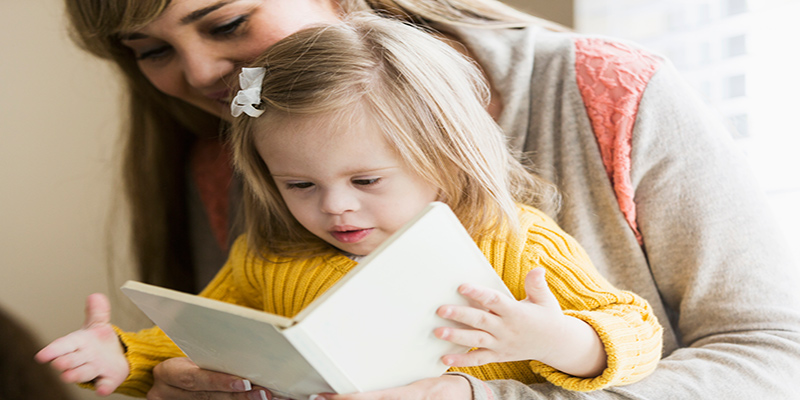 Reading with Child with Down Syndome